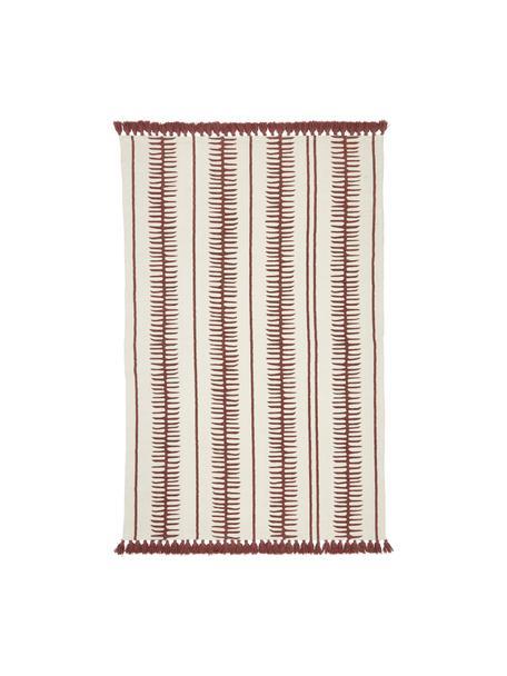 Tappeto in cotone color beige/terracotta tessuto a mano Rita, Beige, terracotta, Larg. 50 x Lung. 80 cm (taglia XXS)