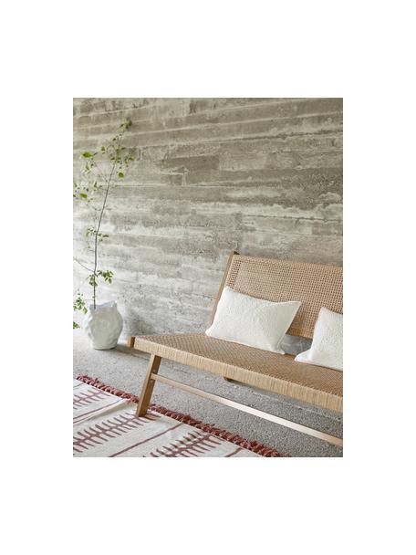 Alfombra artesanal de algodón con borlas Rita, Beige, terracota, An 50 x L 80 cm(Tamaño XXS)
