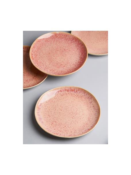 Ręcznie malowany talerz śniadaniowy Areia, 2 szt., Kamionka, Odcienie czerwonego, złamana biel, jasny beżowy, Ø 22 cm