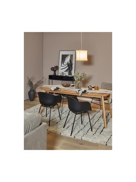 Kunststoff-Armlehnstuhl Claire mit Metallbeinen, Sitzschale: Kunststoff, Beine: Metall, pulverbeschichtet, Schwarz, B 60 x T 54 cm