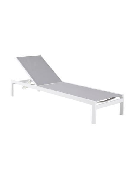 Aluminium zonnebed Copacabana in lichtgrijs/wit, Frame: gelakt aluminium, Wit, 60 x 195 cm