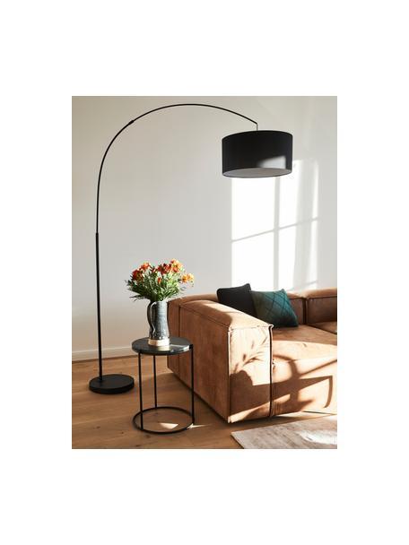 Grote booglamp Niels in zwart, Lampenkap: katoenmix, Lampvoet: gepoedercoat metaal, Lampenkap: zwart. Lampvoet: mat zwart. Snoer: zwart, 157 x 218 cm