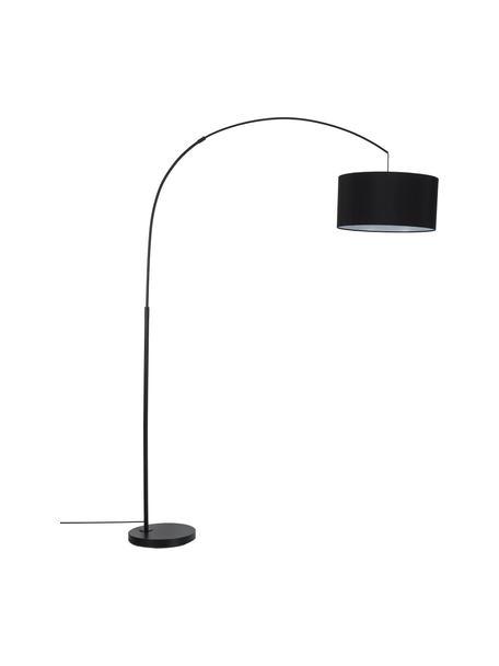 Grote booglamp Niels in zwart, Lampvoet: gepoedercoat metaal, Lampenkap: textiel, Zwart, mat zwart, 157 x 218 cm