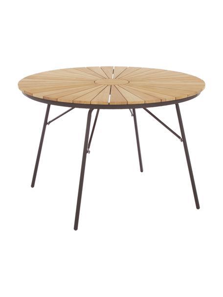 Tavolo rotondo da giardino in legno e metallo Hard & Ellen, Piano d'appoggio: legno di teak sabbiato Po, Antracite, teak, Ø 110 x Alt. 73 cm