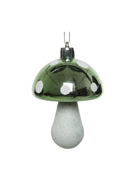 Adornos navideños irrompibles Mashroom, 8uds., Adornos: plástico, Verde, blanco, Ø 5 x Al 8 cm