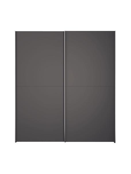 Kledingkast Oliver met schuifdeuren in donkergrijs, Frame: panelen op houtbasis, gel, Donkergrijs, 202 x 225 cm