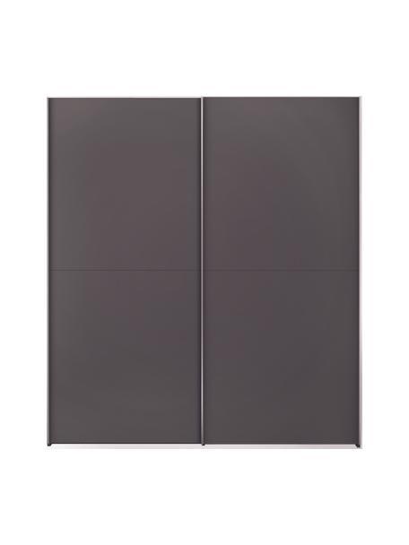 Kleiderschrank Oliver mit 2 Schiebetüren, inkl. Montageservice, Korpus: Holzwerkstoffplatten, lac, Dunkelgrau, 202 x 225 cm