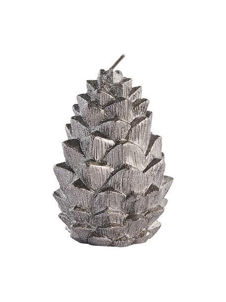 Kerze Nordic Pine H 10 cm, Wachs, Silberfarben, Ø 7 x H 10 cm