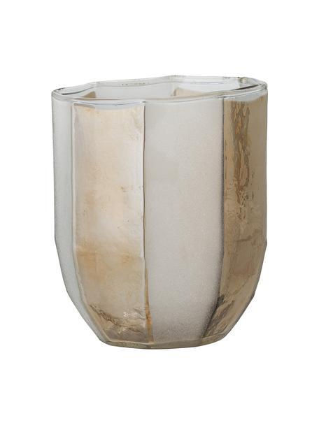 Waxinelichthouder Jalil van glas, Glas, Wit, beige, Ø 9 x H 11 cm