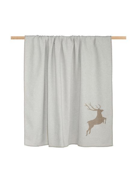 Coperta in cotone con motivo cervo e cuciture decorative Sylt, 85% cotone, 8% viscosa, 7% poliacrilico, Beige, Larg. 140 x Lung. 200 cm