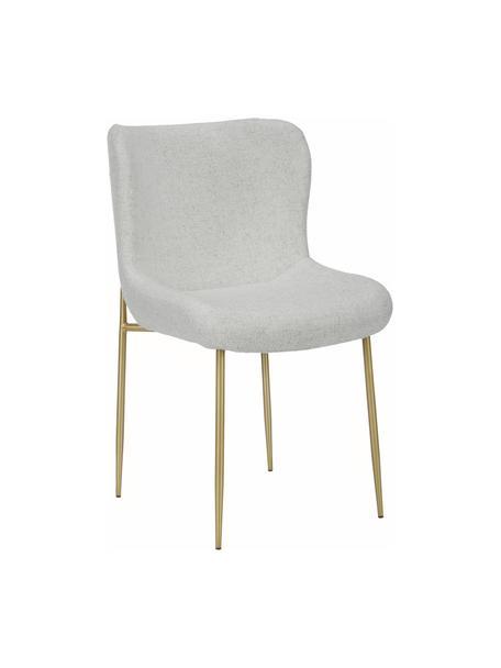 Bouclé stoel Tess in lichtgrijs, Bekleding: 70% polyester, 20% viscos, Poten: gepoedercoat metaal, Bouclé lichtgrijs, goudkleurig, 49 x 84 cm