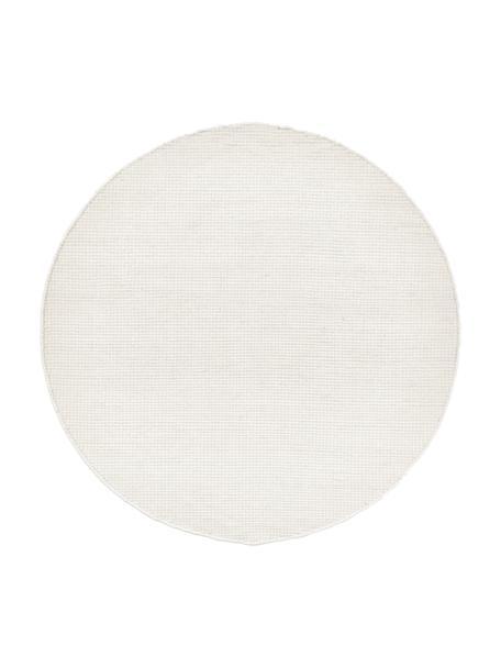 Rond wollen vloerkleed Amaro in crème kleur, handgeweven, 38% wol, 22% polyester, 20% katoen, 20% polyamide, Crèmewit, Ø 140 cm (maat M)