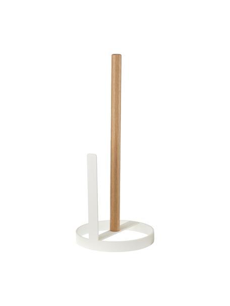 Kleiner Küchenrollenhalter Tosca, Fuß: Stahl, beschichtet, Stange: Holz, Weiß, Holz, Ø 11 x H 27 cm