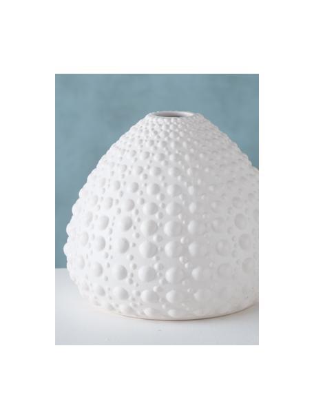 Handgefertigte Vase Bensko aus Steingut, Steingut, Weiß, Ø 17 x H 15 cm
