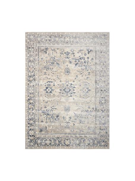 Vintage Teppich Malta in Blau-Beige, 90% Polypropylen, 10% Chenille, Elfenbeinfarben, Blautöne, B 240 x L 330 cm (Größe L)