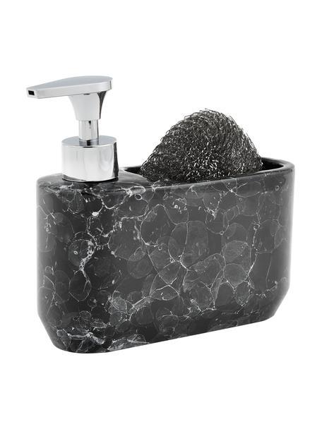 Zeepdispenserset Bubble in marmerlook, 2-delig, Houder: keramiek, Pompje: kunststof, Zwart, zilverkleurig, 19 x 16 cm