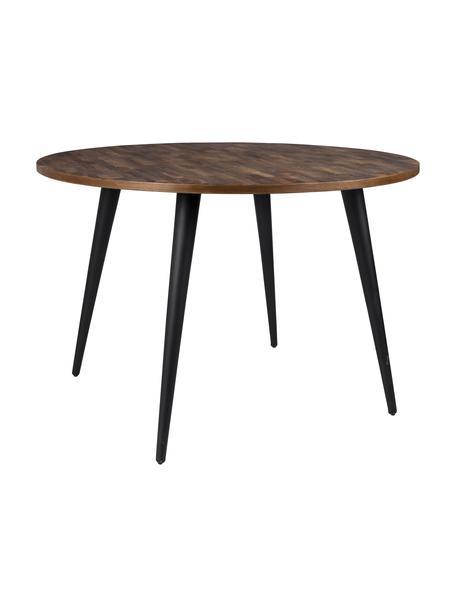 Mesa de comedor Mo, con tablero de teca, Patas: acero pintado y recubiert, Teca, negro, Ø 110 x Al 76 cm