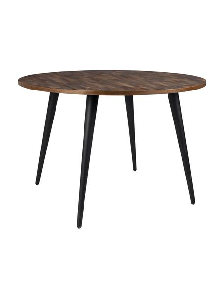 Okrągły stół do jadalni z blatem z drewna tekowego Mo, Nogi: stal lakierowana i powlek, Blat: drewno tekowe Nogi: czarny, Ø 110 x W 76 cm