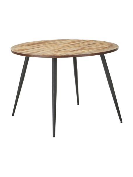 Mesa de comedor Mo, tablero de teca reciclada, Patas: acero pintado y recubiert, Teca, negro, Ø 110 x Al 76 cm
