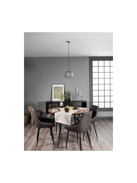 Ronde eettafel Mo met teakhouten tafelblad, Poten: Gelakt metaal en gecoat, Tafelblad: teakhoutkleurig. Poten: zwart, Ø 110 x H 76 cm