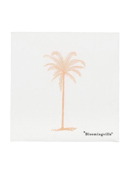 Servilletas de papel Palm, 20uds., Papel, Blanco, dorado, An 25 x L 25 cm