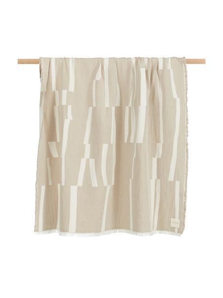 Koc z bawełny z frędzlami Lyme, 100% bawełna organiczna, Beżowy, kremowobiały, S 130 x D 180 cm