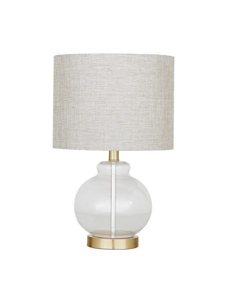 Lámpara de mesa de vidrio Natty, Pantalla: tela, Cable: plástico, Gris pardo, transparente, Ø 31 x Al 48 cm