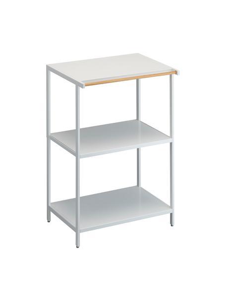 Estantería pequeña de metal Killy, con toallero, Estantería: metal con pintura en polv, Asa: madera, Blanco, An 60 x F 90 cm