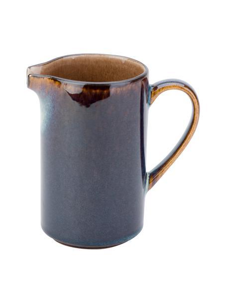 Handgemaakte melkkannetje Quintana in amberkleur met kleurverloop blauw/bruin, 300 ml, Porselein, Blauw- en bruintinten, Ø 7 x H 12 cm