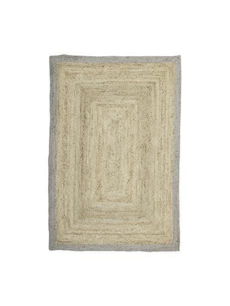 Handgefertigter Jute-Teppich Shanta mit grauem Rand, 100% Jute, Beige, Grau, B 160 x L 230 cm (Grösse M)