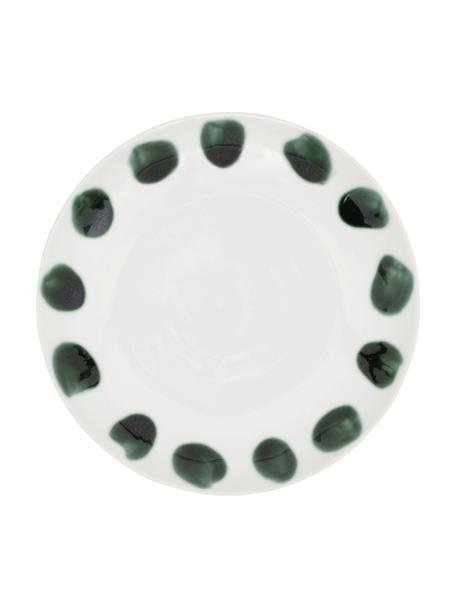 Ręcznie malowany talerz śniadaniowy Dots, Kamionka, Biały, zielony, Ø 22 cm