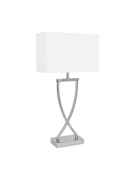 Grote klassieke tafellamp Vanessa in zilverkleur, Lampvoet: metaal, Lampenkap: textiel, Lampvoet: chroomkleurig. Lampenkap: wit. Snoer: wit, 27 x 52 cm