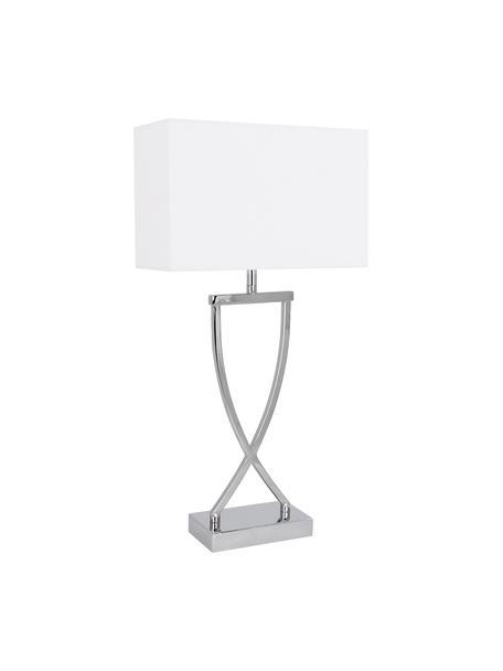 Lámpara de mesa Vanessa, estilo clásico, Pantalla: tela, Cromo, blanco, An 27 x Al 52 cm