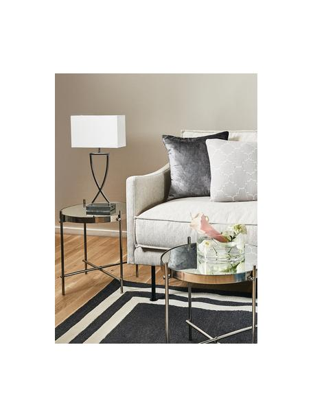 Lámpara de mesa grande Vanessa, estilo clásico, Pantalla: tela, Cromo, blanco, An 27 x Al 52 cm