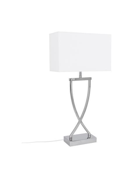 Grosse Klassische Tischlampe Vanessa in Silber, Lampenschirm: Textil, Lampenfuss: Chrom, Lampenschirm: Weiss, Kabel: Weiss, 27 x 52 cm