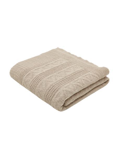 Copriletto con superficie strutturata Magdelena, 50% cotone, 30% poliestere, 20% acrilico, Beige, Larg. 160 x Lung. 220 cm (per letti da 120 x 200)