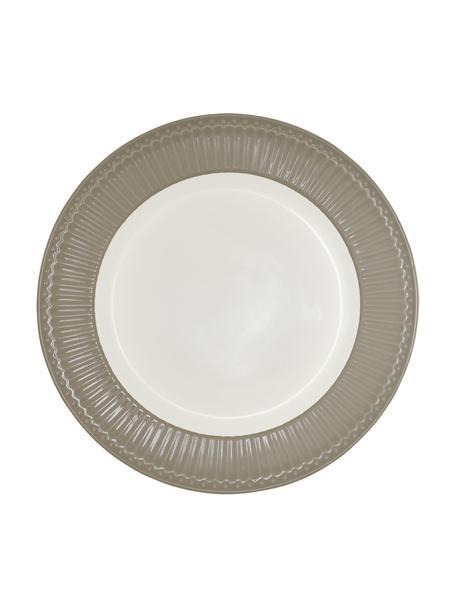 Handgemaakte dinerborden Alice in grijs met reliëfdesign, 2 stuks, Porselein, Grijs, wit, Ø 27 cm