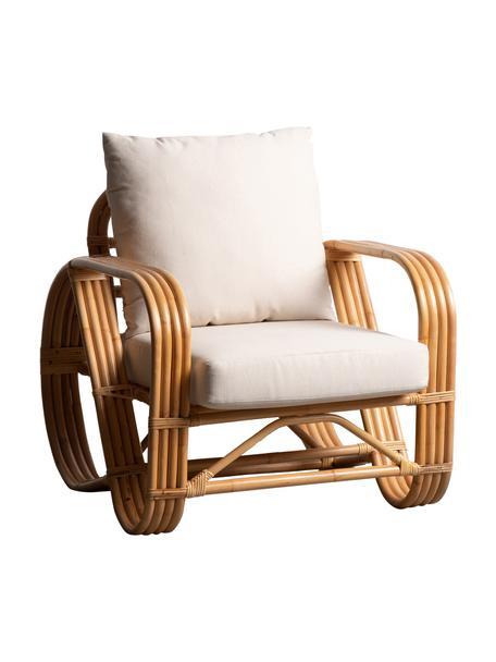 Fotel wypoczynkowy z rattanu Fennel, Tapicerka: poliester, Stelaż: rattan, Brązowy, S 83 x G 77 cm