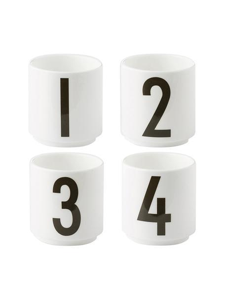 Tazas originales de diseño 1234, 4uds., Porcelana fina de hueso (porcelana) Fine Bone China es una pasta de porcelana fosfática que se caracteriza por su brillo radiante y translúcido., Blanco, negro, Ø 5 x Al 6 cm