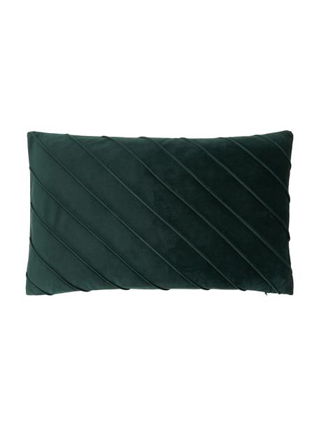 Federa arredo in velluto verde scuro con motivo Leyla, Velluto (100% poliestere), Verde, Larg. 30 x Lung. 50 cm