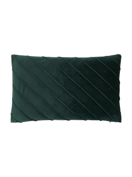 Fluwelen kussenhoes Leyla in donkergroen met structuurpatroon, Fluweel (100% polyester), Groen, 30 x 50 cm