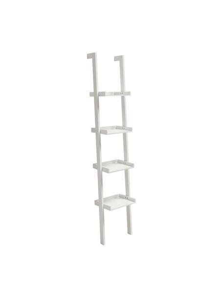 Smalle houten ladderrek Wall in wit, Gelakt MDF, Wit, 37 x 180 cm
