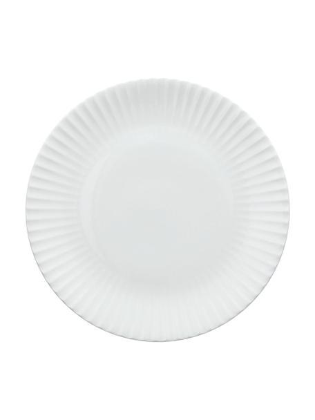 Frühstücksteller Radius aus Porzellan mit Rillenrelief, 2 Stück, Fine Bone China (Porzellan) Fine Bone China ist ein Weichporzellan, das sich besonders durch seinen strahlenden, durchscheinenden Glanz auszeichnet., Weiß, Ø 20 cm