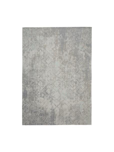 Vintage chenille vloerkleed Babylon in grijsbeige, Bovenzijde: 100% chenille (katoen), Weeftechniek: jacquard, Onderzijde: chenille, gecoat met late, Grijs, beige, B 140 x L 200 cm (maat S)