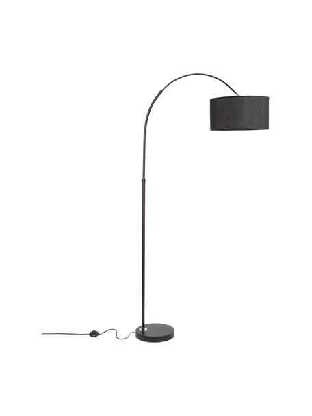 Booglamp Sama in zwart, Lampenkap: textiel, Lampvoet: aluminium, Zwart, 90 x 180 cm