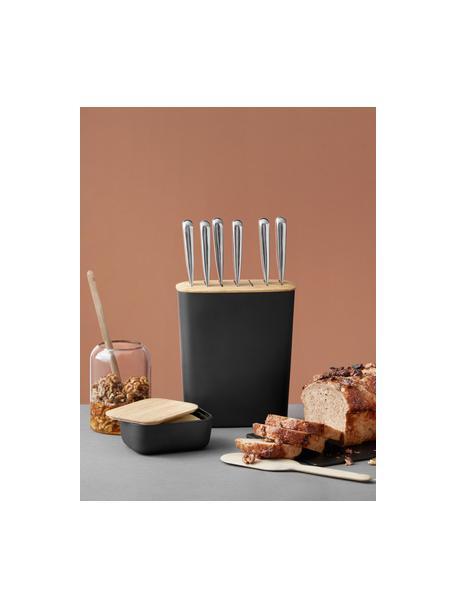 Botervloot Box-It in zwart met bamboe deksel, Deksel: bamboehout, Mat zwart, bamboehoutkleurig, 15 x 7 cm