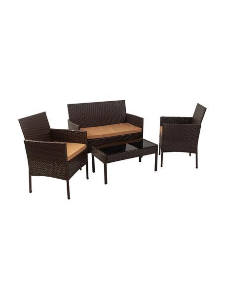 Tuin loungeset Barny, 4-delig, Frame: kunstrotan, Bekleding: stof, Tafelblad: glas, Mangohoutkleurig, Set met verschillende formaten