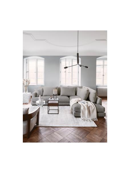 Grote hoekbank Tribeca in donkergrijs, Bekleding: 100% polyester, Frame: massief beukenhout, Poten: massief gelakt beukenhout, Geweven stof donkergrijs, B 274 x D 192 cm