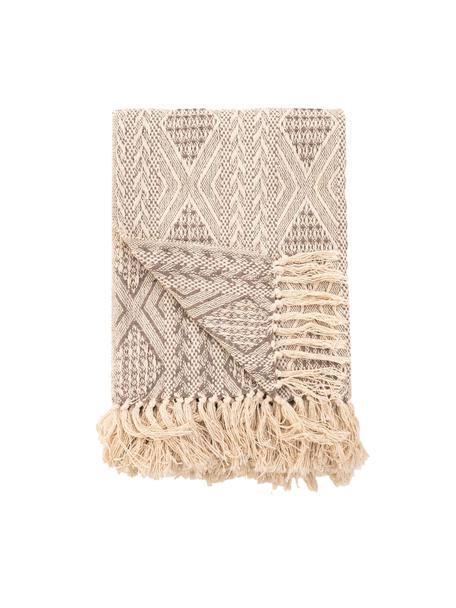 Copriletto boho in cotone Chicago, 100% cotone, Beige, Larg. 180 x ung. 260 cm (per letti fino a 140 x 200)