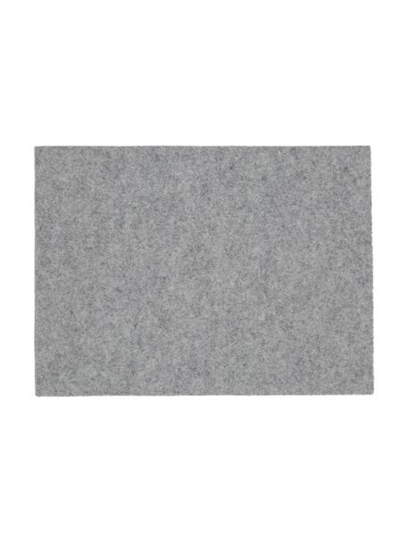 Vilten placemats Leandra, 4 stuks, 90% wol, 10% polyethyleen, Lichtgrijs, 33 x 45 cm